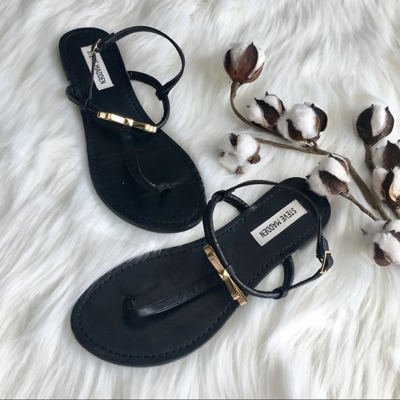 83dc17f4353 Steve Madden Black with Gold Bows Sandals